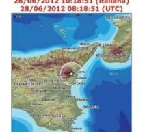 Aggiornamento:ore12,30 del 28 Giugno 2012. Sciame sismico da Canicattini a Catania.