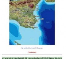 Ancora un sisma nel siracusano il 2 luglio alle ore 4,3, magnitudo 2.2