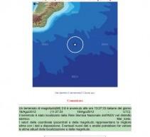Siracusa- Sisma di 2,6 Mag alle 13,26 di sabato, nel mar ionio lontano da Siracusa