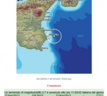 SISMA A SIRACUSA  DI MAG 2,7 ALLE ORE 11,29 ANTISTANTE COSTA IONICA