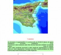 Lentini, sisma di Mag2.0 ore9,09 del12settembre 2012 nella piana di Catania