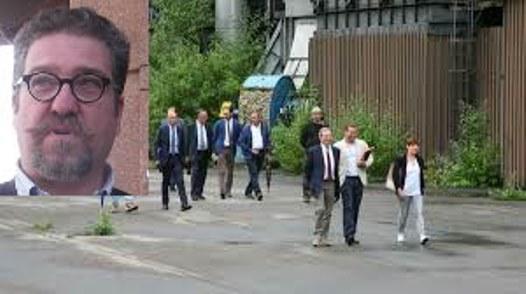 Giuseppe Patti nel riquadro e una visita della Commissione eco mafie