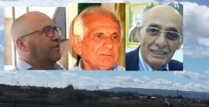 Sullo sfondo l'area Pantanelli. Nelle finestre: Gaetano Cutrufo, Salvo Baio e Turi Raiti
