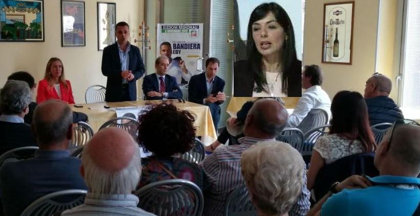 Una riunione elettorale a favore di Edy Bandiera e nel riquadro l'indigesta Rossana Cannata