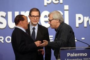 Musumeci, Berlusconi e l'assessore a tempo Vittorio Sgarbi