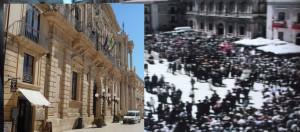 Il Comune chiuso e la festa in piazza