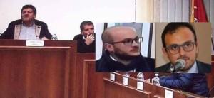 L'ex sindaco Cannata  in un Consiglio comunale. Nei riquadri l'avv. Salvo Sbona e il sindaco Carta