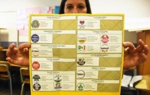 Una ragazza mostra una scheda elettorale durante le operazioni di voto alla scuola Giovanni XXIII, Palermo, 4 marzo 2018. ANSA/ MIKE PALAZZOTTO